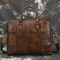 PNDME fashion vintage large capacity business genuine leather men's briefcase casual simple cowhide laptop shoulder bag handbags