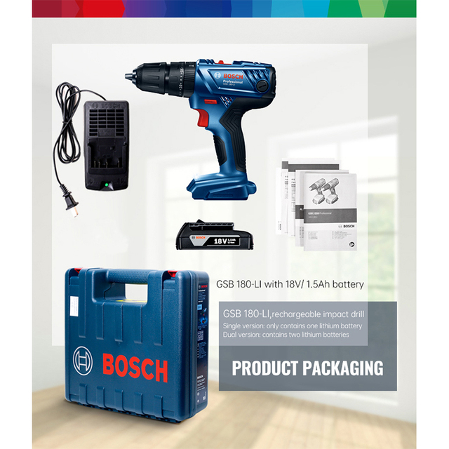 Bosch Cordless Electric Drill Driver 18V Max 50N.m Impact Driver LED light Drill Combo Kit for Drilling Wood Metal and Plastic 6