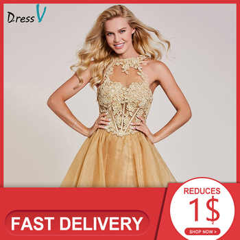 Dressv appliques cocktail dress champagne halter neck sleeveless knee length a line gown lady homecoming short cocktail dresses - DISCOUNT ITEM  41 OFF Weddings & Events
