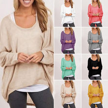 Women Ladies Oversized Loose Long Sleeve Shirt Baggy Irregular Knitted Tops(China)