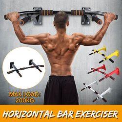 Drzwi poziome bary stalowe 200kg domowa siłownia trening podbródek push Up Pull Up trening Bar Sport Fitness przysiady sprzęt Heavy Duty|Drążki gimnastyczne|   -
