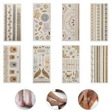 Adesivos de tatuagem falsos adesivos de telefone impermeável bronzeamento retro impressão adesivos de tatuagem dwaterproof brilhante pulseira adesivos 8 pçs
