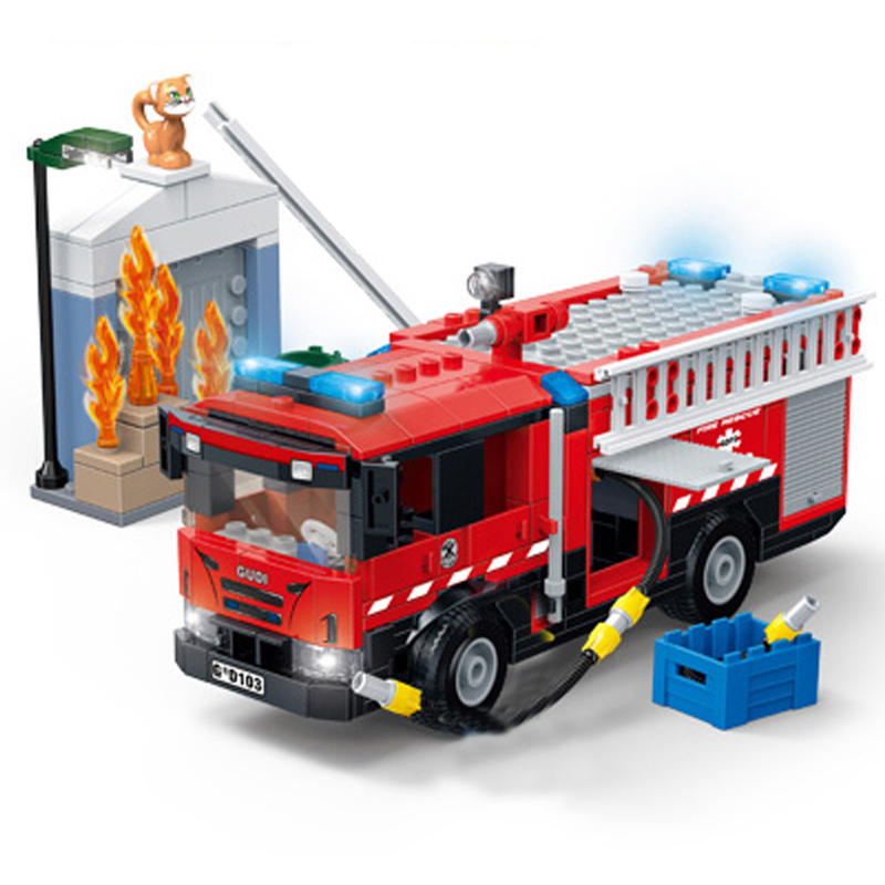 2019 NEW GUDI City Fire Sets Series Station Ladder Truck Building Blocks Bricks Classic Model Kids Legoingly Toys For Children