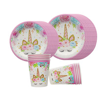80pcs Unicorn Party Disposable 7inch/9inch Paper Plate Cups Birthday Decorations Kids Unicornio Wedding Supplies