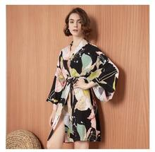 2020 Spring New Ladies Silk Satin Thin Robe Comfort Fresh Style Floral Printed Sleepwear Sexy Nightgown Femme Satin Homewear