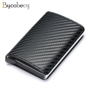 Bycobecy 2021 Credit Card Holder Wallet Men Women RFID  Aluminium Box Vintage Crazy Horse PU Leather Bank Cardholder Case 1