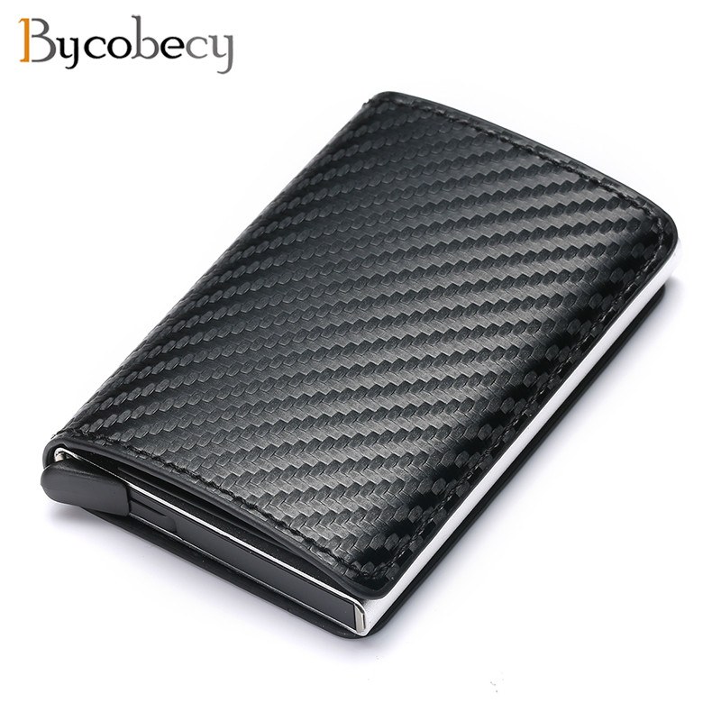Bycobecy 2020 Credit Card Holder Wallet Men Women Metal RFID Vintage Aluminium Bag Crazy Horse PU Leather Bank Cardholder Case