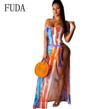 FUDA Women Fashion Sexy Slim Dress Elegant Vintage Print Sleeveless Femme Summer Hollow Out Bodycon High Quality Dresses