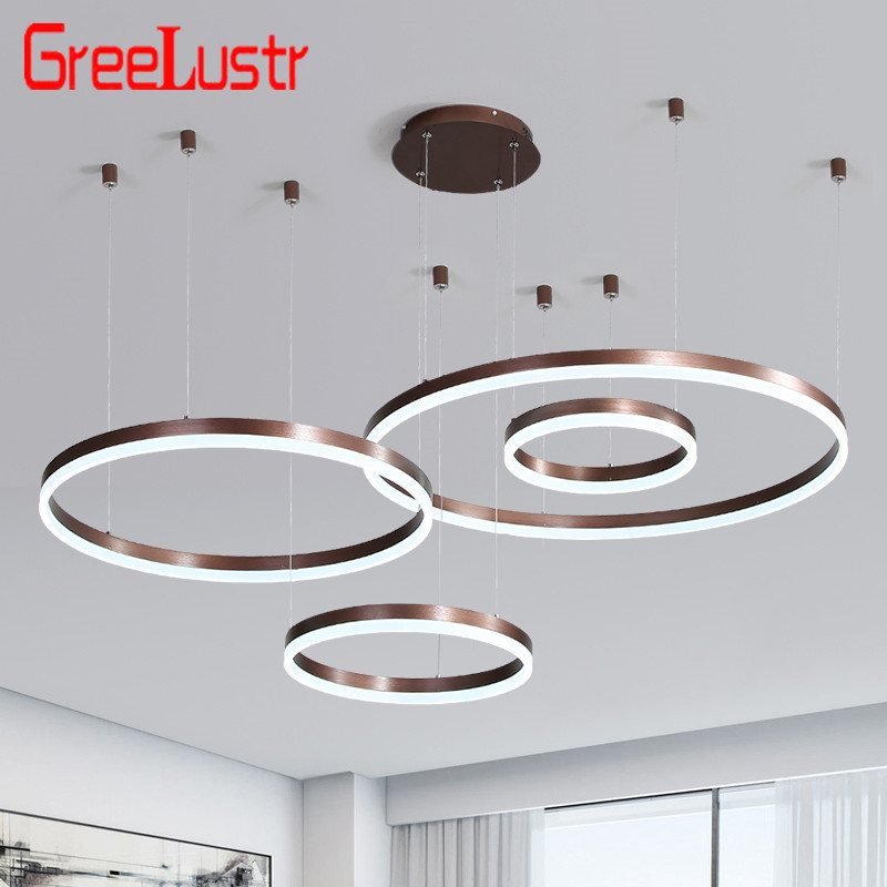 Post-Modern Rings LED Pendant Chandelier Lamp Dimmable Coffee Gold Circular Hanging Suspension Light  Bedroom Lamp Lustre Remote