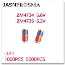 JASNPROSMA 1000 sztuk 5000 sztuk ZM4734 ZM4735 5.6V 6.2V LL41 1W ZM4734A ZM4735A 4734 4735 zener 1N4734 1N4735 IN4734 IN4735 5V6 6V2