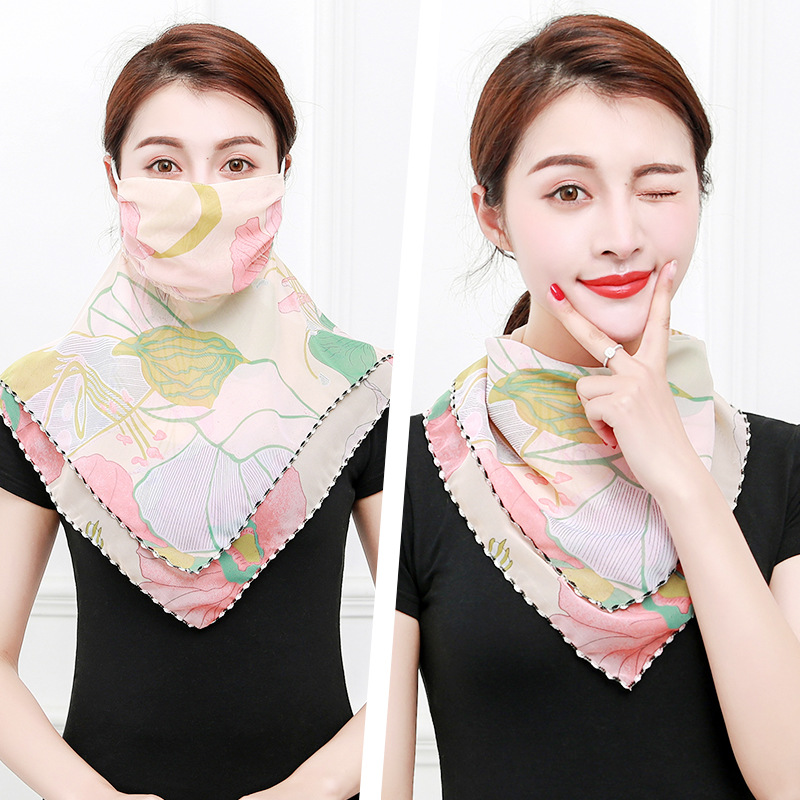 2020 Fashion Print Chiffon Face Mask Protection Women Sun Scarves Neck Cover Hiking Riding Mouth Scarfs For Ladies Ring Wraps