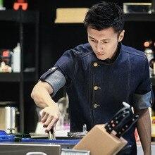 Мужская куртка шеф-повара с фартуком, форменная одежда для приготовления пищи, джинсовые хлопковые топы с короткими и длинными рукавами, водостойкая рубашка, комплект одежды