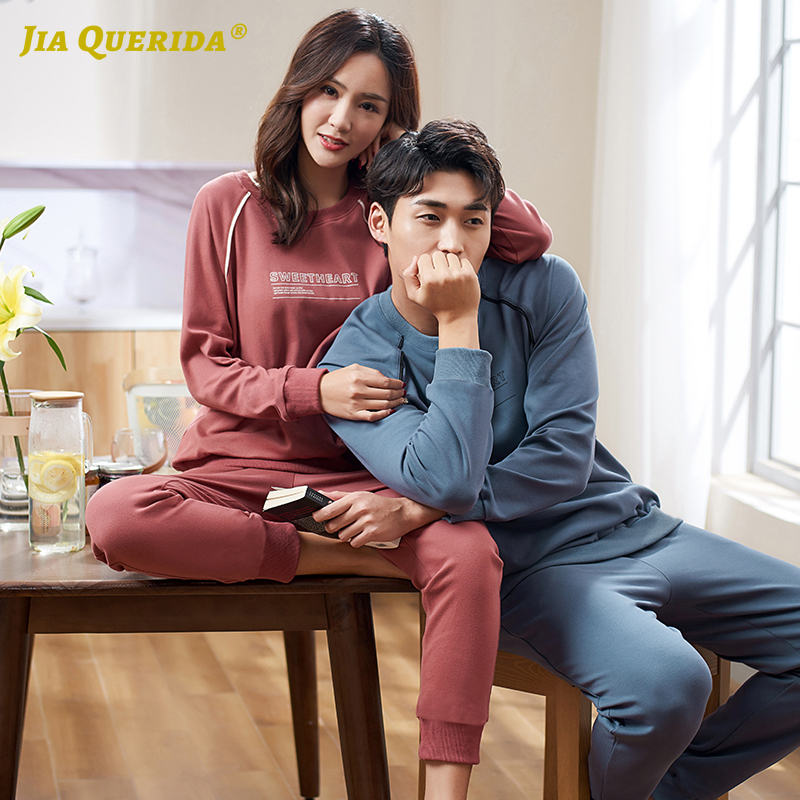 Fashion Pajamas Cotton Sleepwear For Couple High Quality Sporty Mens And Womens Pajamas Plus Size Casual Matching Couples Suits