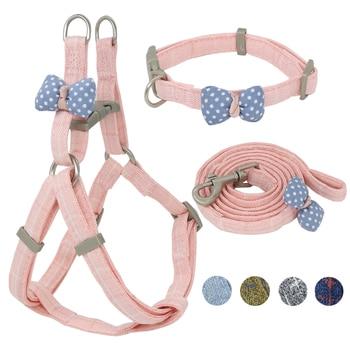 Dog Harness Leash Collar Set Adjustable Soft Cute Bow Dog Harness for Small Medium Pet Collar Leash Outdoor Walking Pet Supplies 1