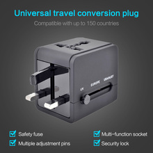 лучшая цена KISSCASE Travel Adapter International Universal Power Adapter All In One 6A 2USB Worldwide Wall Phone Charger For UK EU AU Asia