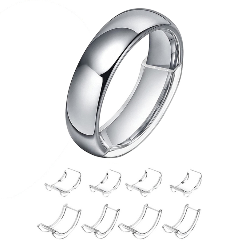 8 tamanhos de silicone invisível limpar anel tamanho ajustador resizador anéis soltos redutor x7ya