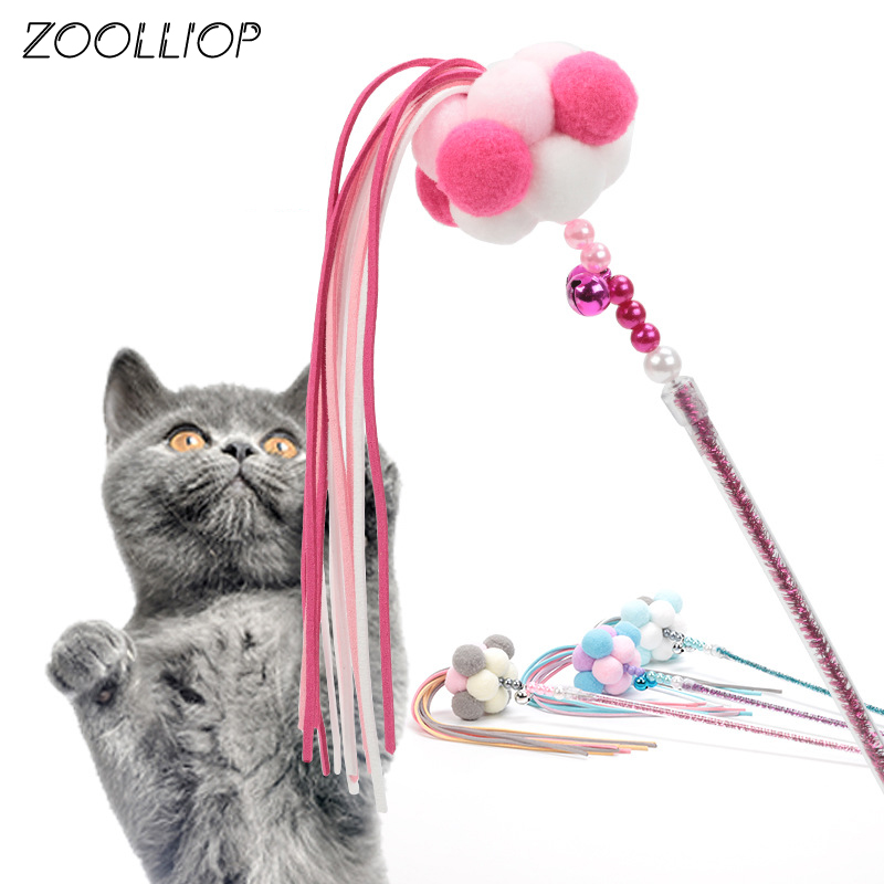 1PC Teaser Plush ball Toys Kitten Funny Colorful Rod Cat Wand Toys Plastic Pet Cat Toys Interactive Stick Pet Cat Supplies