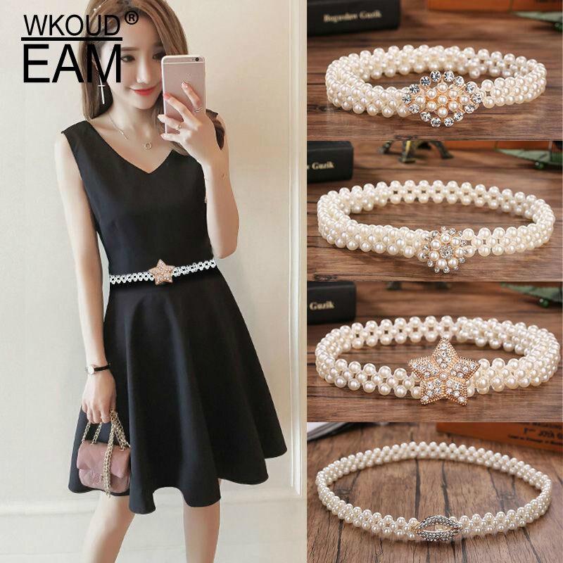 EAM 2020 New Elegant Beautiful Pearl Belt Women Korea Wild Dress Belt Fashion Corset Belt Female Waistband High Quality PF551