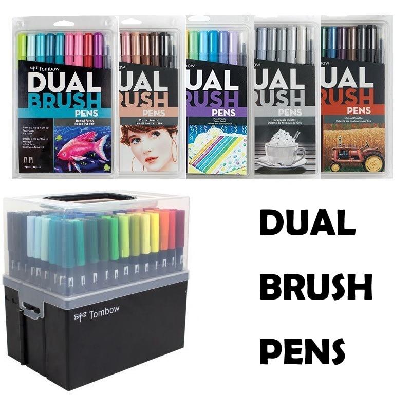 10 Colors/Set Dual Brush Pens Fine Tip Dual-head Watercolor Pen Professional Calligraphy Art Marker Pen