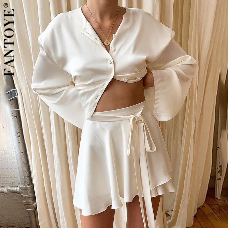 FANTOYE Summer New Women Satin Two Piece Set Elegant Long Sleeve Short Top And Skirt Set Casual White Crop Top 2 Piece Set Belt