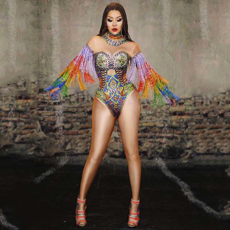 Kolorowe Tassel rękaw kombinezon damskie dżety sukienka piosenkarka ubrania sceniczne Sexy GOGO kostium tancerza Party Fringe body