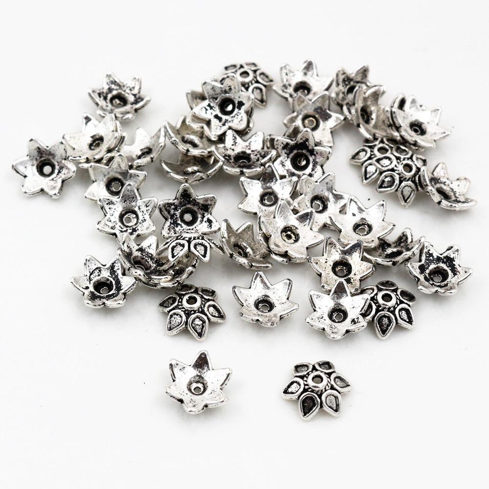 Antique Tibétain Argent Fleur Forme Pendentif Connecteur 35 mm fabrication de bijoux