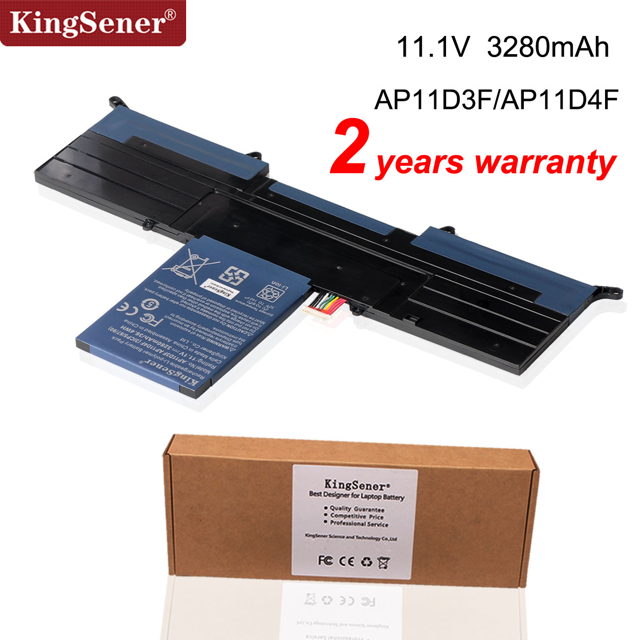 KingSener New <font><b>AP11D3F</b></font> Battery For Acer Aspire S3 S3-951 S3-391 MS2346 <font><b>AP11D3F</b></font> AP11D4F 3ICP5/65/88 3ICP5/67/90 11.1V 3280mAh image