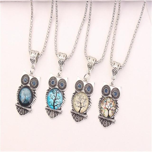 Boho Female Crystal Jewelry Set Charm Silver Color Dangle Earring For Women Vintage Owl Bracelet Wedding Chain Necklace 4