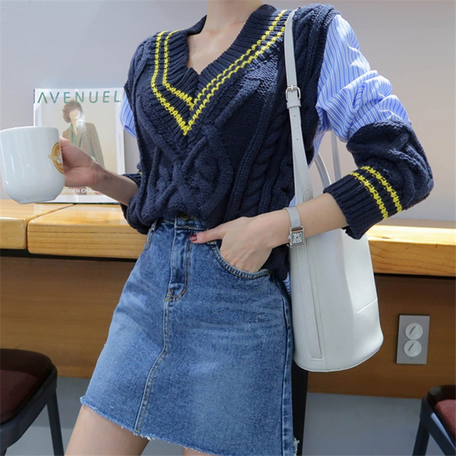 Ailegogo 2020 Autumn Winter Women's Sweaters Patchwork Srtiped V-Neck pullover Stylish Knitted Korean Female Jumpers SW1703 5