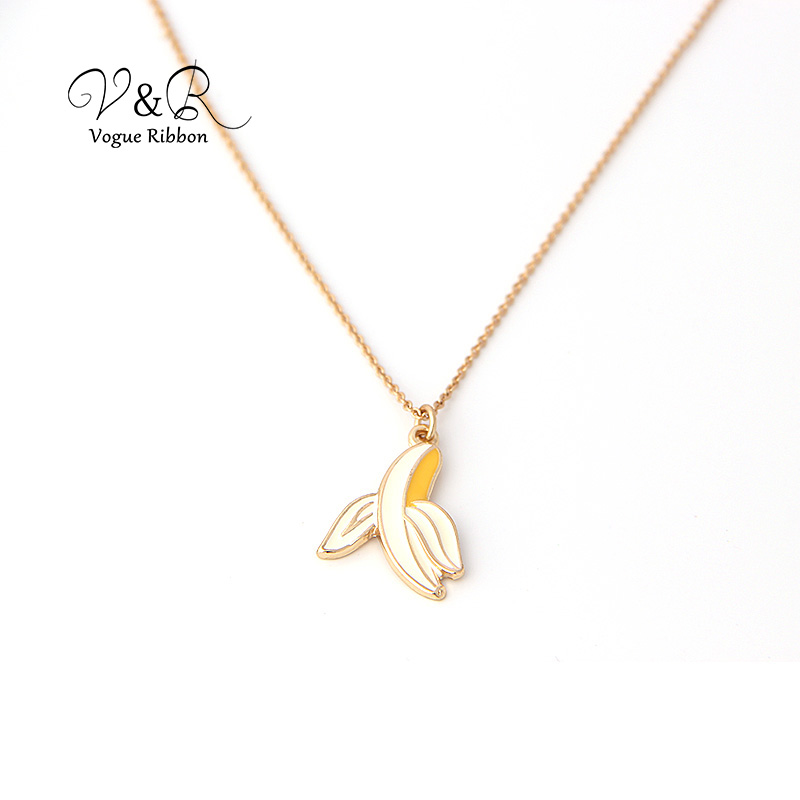 Imitation gold plated pendant necklace, cute epoxy banana pendant, fashion jewelry for girl  (1)