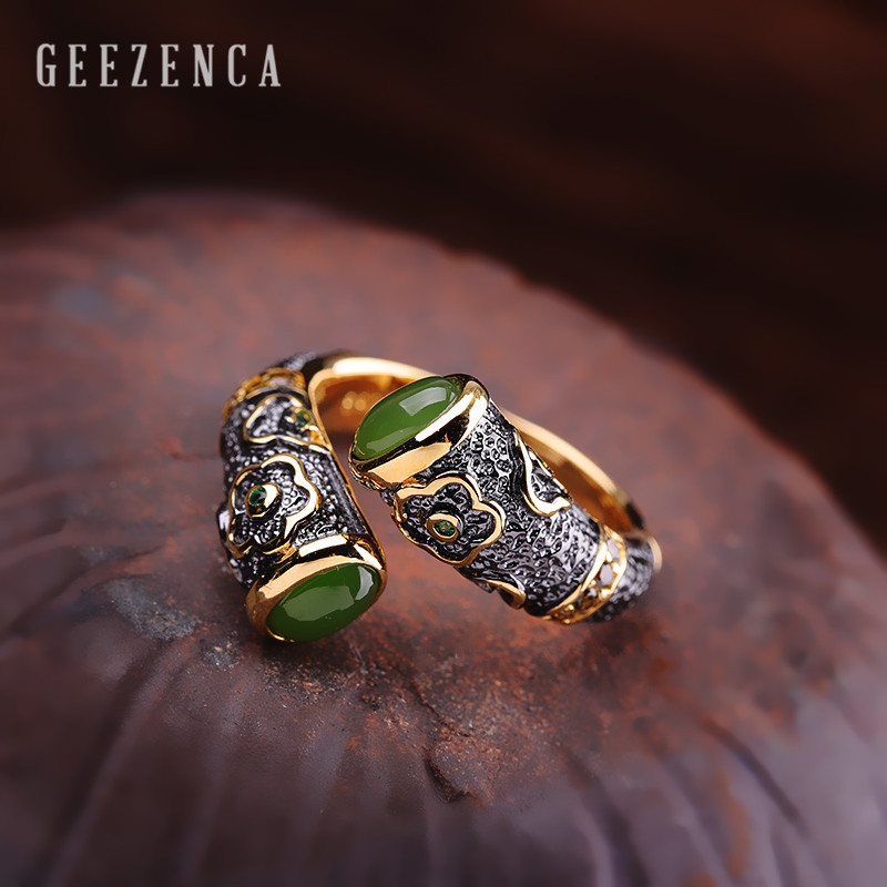 Image 5 - 925 Sterling Thai Silver Natural Colour Gemstones Open Rings Topaz Corundum Jade Fine Jewelry for Women Trendy Ring Party Gift-in Rings from Jewelry & Accessories