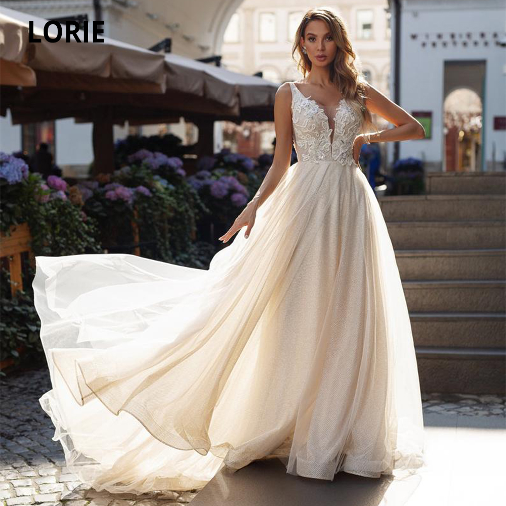 LORIE 2020 Sexy Deep V-neck Lace Wedding Dresses Boho Bridal Gowns Sleeveless Open Back Wedding Gown Beach Princess Party Dress
