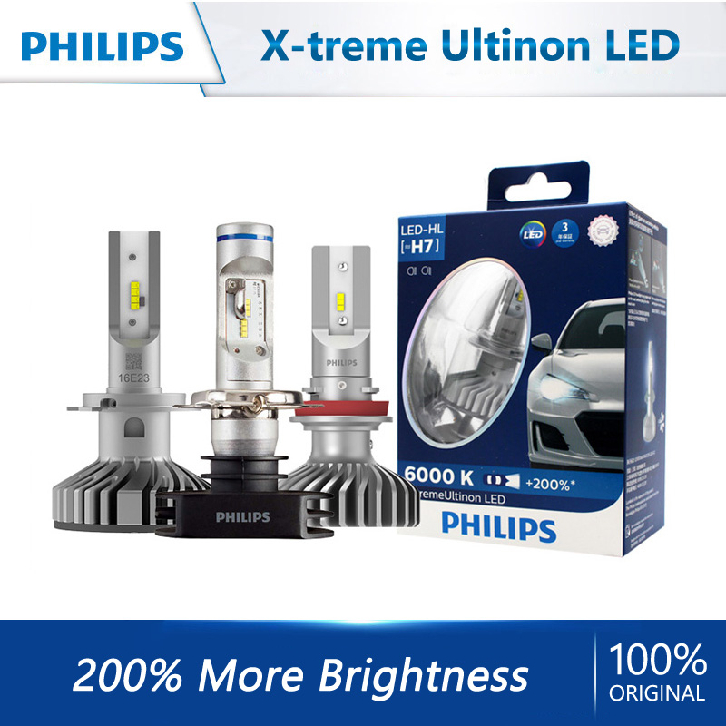 Лампы Philips X-tremeUltinon автомобильные светодиодсветодиодный, H4, H7, H8, H11, H16, HB2, HB3, HB4, 9003, 9005, 9006, 2 шт.