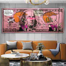 Pink Dollar Creative Modern Art Canvas Poster and Prints Franklin Money 100 Dollars Picture Wall Decor Painting For Liviung Room