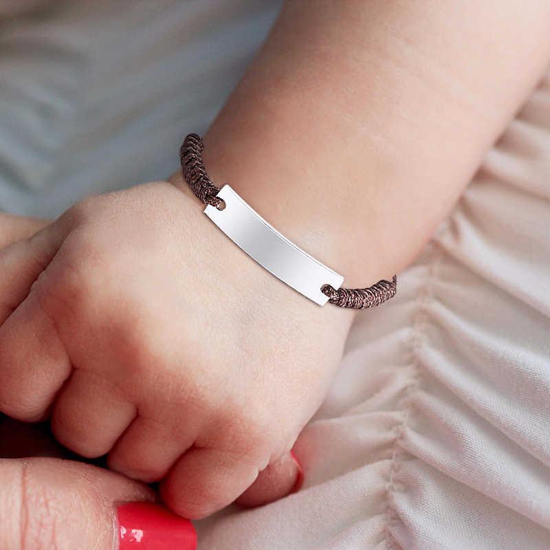 Vnox ручной работы Плетеные веревочные браслеты для мальчиков Дети нержавеющая сталь ID барный браслет дети анти потеря ювелирные изделия персонализировать имя