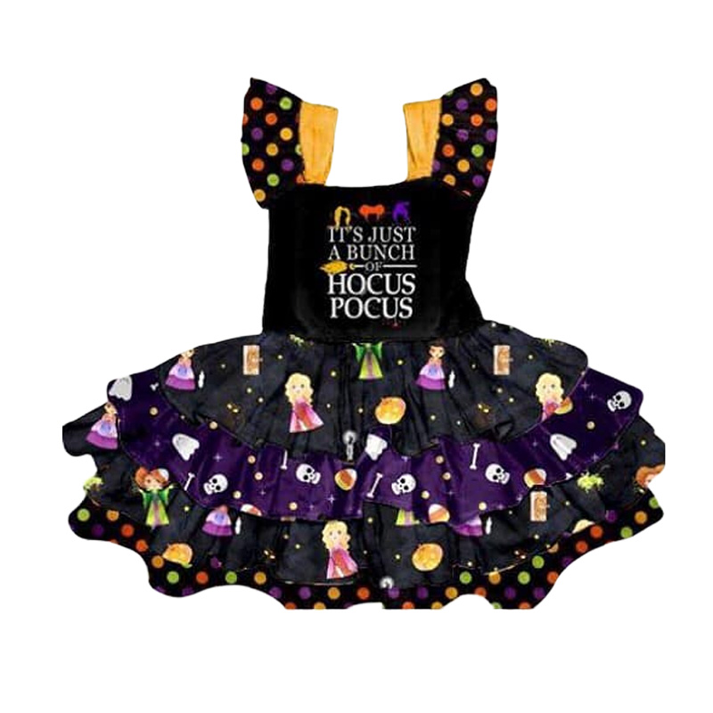 Fashion Baby Girl Party Dress Boutique Children Clothing Halloween Kids Twirl Dress