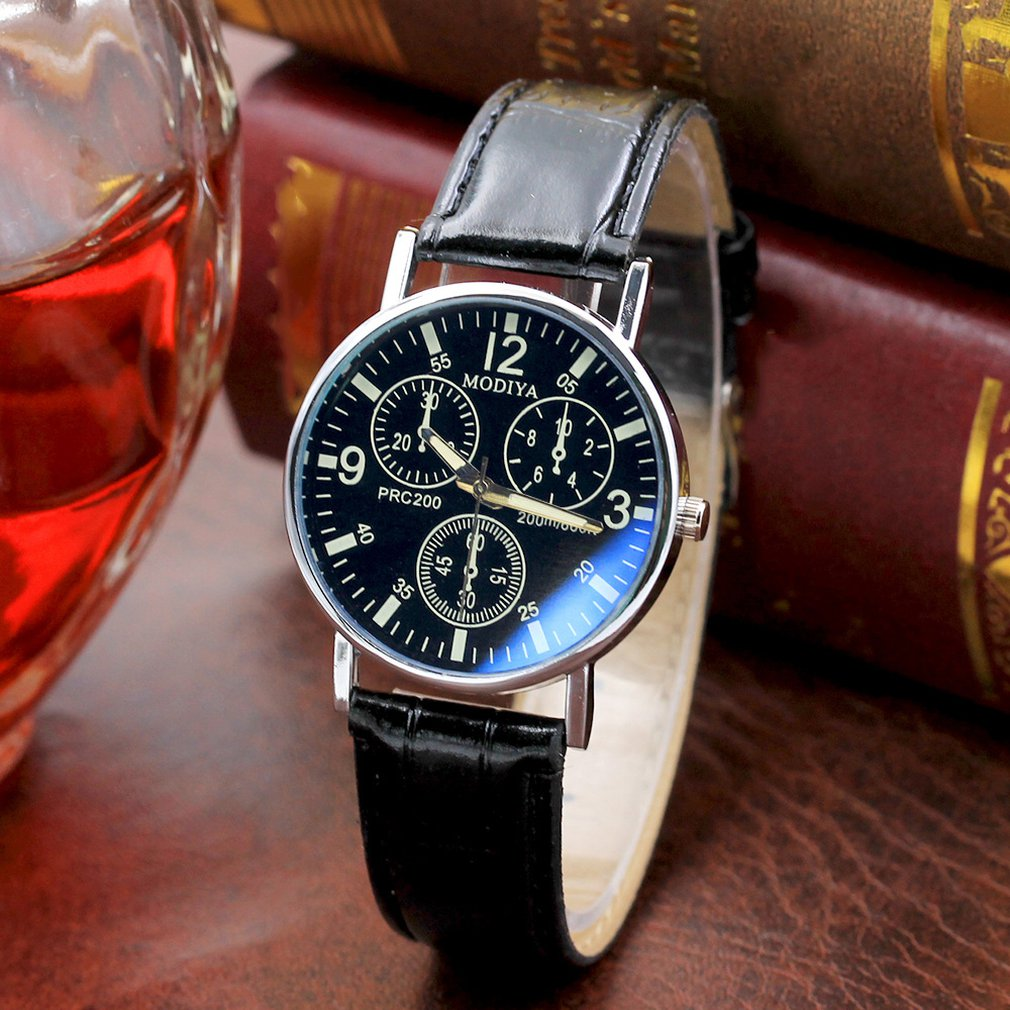 Men's Quartz Watch Casual Business Watch Simple Fashion Spiral Crown Leather Belt Watch Portable Men's Gift Watch