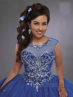 Blue Quinceanera Dresses Ball Gown Scoop Cap Sleeves Tulle Beaded Crystals Cheap Sweet 16 Dressees