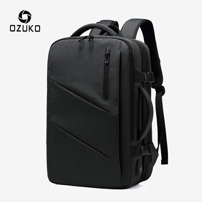 OZUKO Men Expandable Backpack Multifunctional 15.6 Inch Laptop Backpacks Multi-layer Male USB  Waterproof School Bag Mochila New