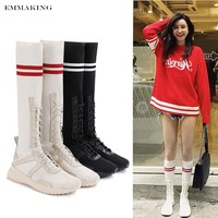EMMAKING Sport Styles Stretch Socks Boots Cross tied Knee High Boots For Women Fashion Lacing Up Shoes White Black