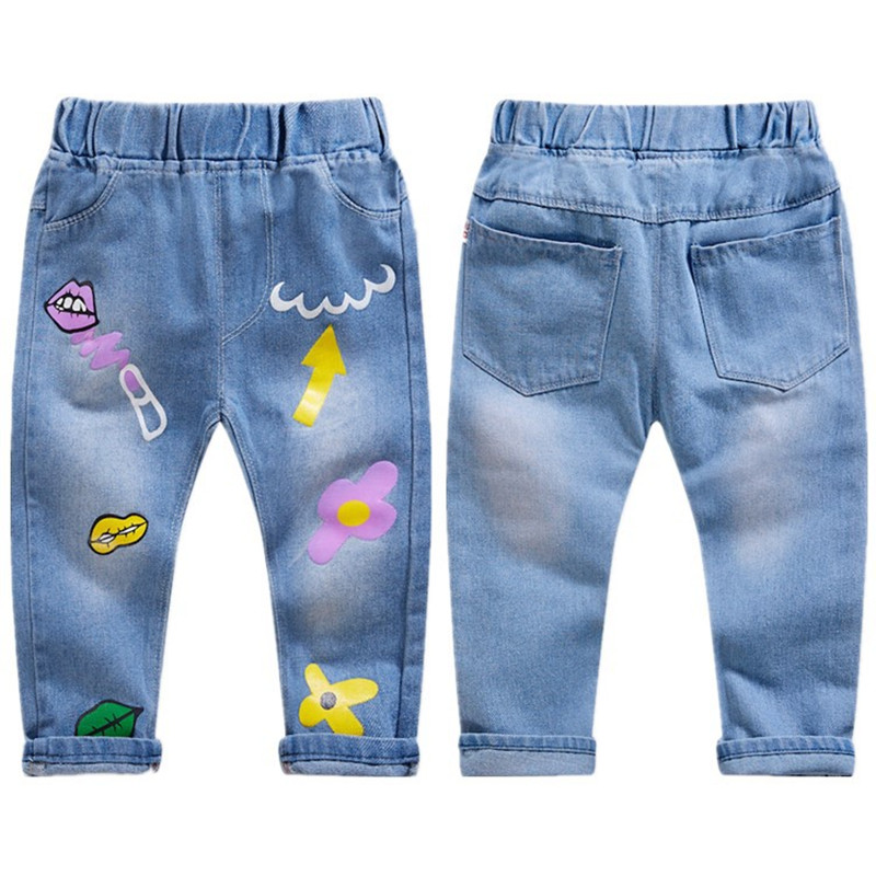 2021 Spring Boys Pants Print Pattern Trousers Girls Cartoon Ripped Pant Children Clothing Kids Clothes Baby Girl Birthday Jeans 3
