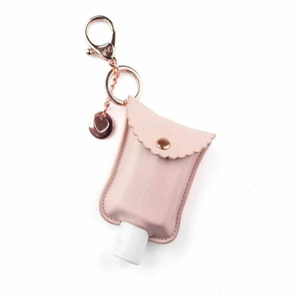 Portable Squeeze Bottle Essential Oil Empty Leakproof Plastic Travel Bottle with Leather Keychain Holder for Hand Sanitizer 1pc Black Refillable Bottle Clips to Travel Bag