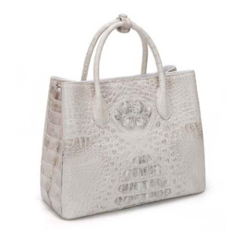 dongou Siam  crocodile  Female bag  Genuine leather  handbag  The Himalayan  white  women handbag