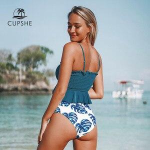Image 2 - Cupshe smockedブルー葉印刷ビキニセット女性フリルハイウエストタンキニ二枚水着2020ガール自由奔放に生きる水着スーツ