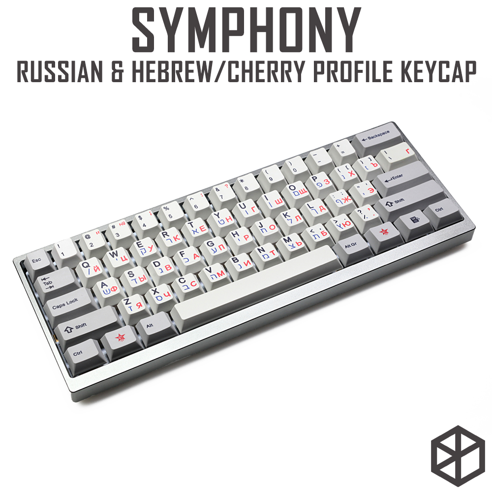 Kprepublic 139 Russian Hebrew Font Language Blue Red Cherry Profile Dye Sub Keycap PBT For Gh60 Xd60 Xd84 Tada68 87 104 108