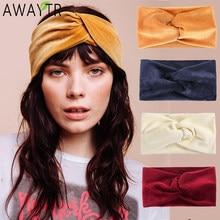 AWAYTR femmes bandeau fil cheveux cravate large noeud velours bandeau femme cheveux bandes élastique pour cheveux femmes bandeau cheveux accessoires