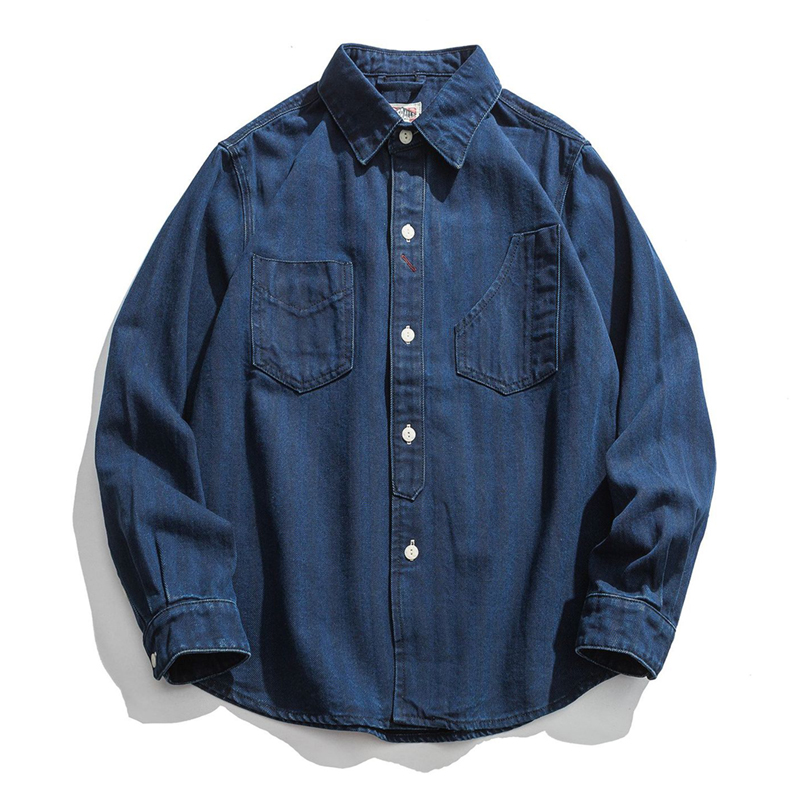 Mens Shirts Men's Japan Vintage Safari Style Denim Shirts Coat Spring Casual Retro Washed Blue Jean Shirt Cowboy Outerwear Male
