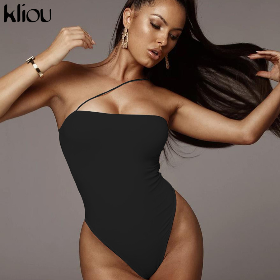 Kliou Cotton Sexy Strapless Bodysuit Women One Shoulder Fashion Off Shoulder Summer Women Rompers Solid Backless Lady Bodysuits