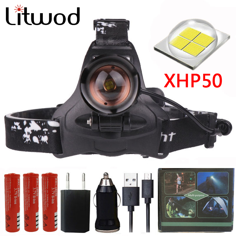 CREE XHP50 16W Chip Headlight 32000lum Powerful Led Headlamp Zoom Head Light Head Lamp Flashlight Torch Lantern