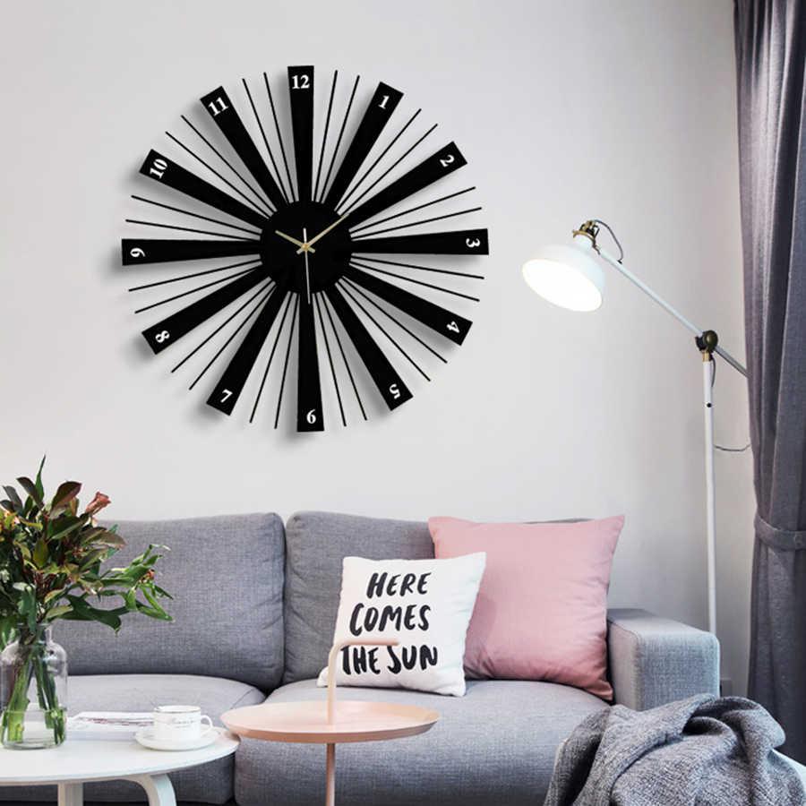 De Metal Criativo Relógios de Parede Decorativos Grande Preto Em Silêncio Relógio De Parede de Madeira Sala de estar Grande Relógio Na Parede do Projeto Da Arte WKP527
